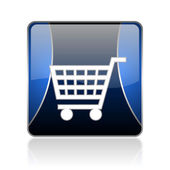 Shopping cart blue square web glossy icon — Stock Photo