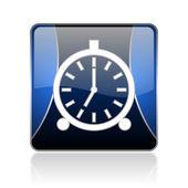 Alarm clock blue square web glossy icon — Stock Photo