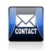 Contact blue square web glossy icon — Stock Photo