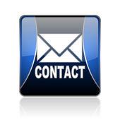 Kontakta blå torget web blanka ikonen — Stockfoto