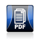 Pdf blue square web glossy icon — Stock Photo