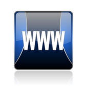 Www blue square web glossy icon — Stock Photo