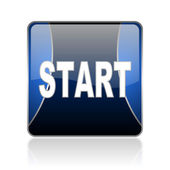 Start blue square web glossy icon — Stock Photo