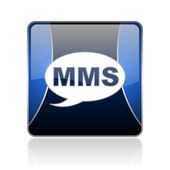 Mms blue square web glossy icon — Stock Photo