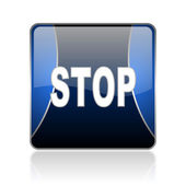Stop blue square web glossy icon — Stock Photo