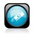 Money black and blue square web glossy icon — Stock Photo