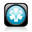 Caduceus black and blue square web glossy icon — Foto Stock