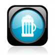 Beer black and blue square web glossy icon - Photo