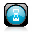 Time black and blue square web glossy icon — Stock Photo