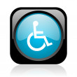 Accessibility black and blue square web glossy icon — Stock Photo #23627173