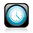 Stock Photo: Clock black and blue square web glossy icon