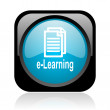 Stock Photo: E-learning black and blue square web glossy icon