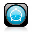 Alarm clock black and blue square web glossy icon — Stock Photo