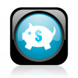 Piggy bank black and blue square web glossy icon — Stock Photo #23627771