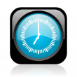 Clock black and blue square web glossy icon — Stock Photo
