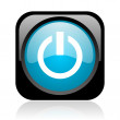 Power black and blue square web glossy icon — Stock Photo
