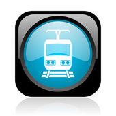 Train black and blue square web glossy icon — Stock Photo