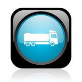 Camion noir et bleu carré web icône brillant — Photo