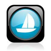 Yacht black and blue square web glossy icon — Stock Photo