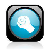 Tools black and blue square web glossy icon — Stock Photo