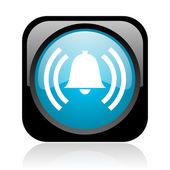 Alarm black and blue square web glossy icon — Stock Photo
