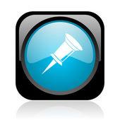 Siyah ve mavi kare web parlak simge pin — Stok fotoğraf