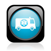 Ambulance black and blue square web glossy icon — Stock Photo