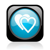 Amor icono brillante web cuadrado negro y azul — Foto de Stock