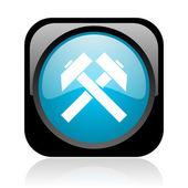 黒と青の正方形ウェブ光沢のあるアイコンをマイニング — ストック写真