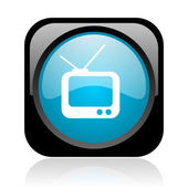 Tv black and blue square web glossy icon — Stock Photo
