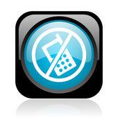 No phones black and blue square web glossy icon — Stockfoto