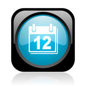 Planificateur noir et bleu carré web icône brillant — Photo