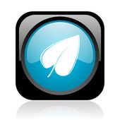 Leaf black and blue square web glossy icon — Stock fotografie