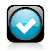 Accepter les glossy icône web carré noir et bleu — Photo