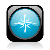 Compass black and blue square web glossy icon — Stock Photo