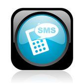 Sms noir et bleu carré web icône brillant — Photo