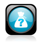 Riddle black and blue square web glossy icon — Foto Stock
