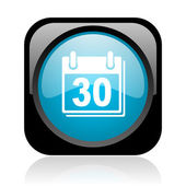 Calendar black and blue square web glossy icon — Stock fotografie
