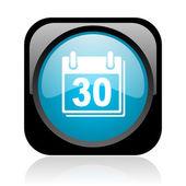 Calendar icône glossy web carré noir et bleu — Photo