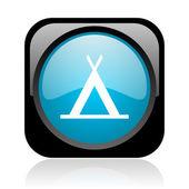 кемпинг глянцевый черный и голубой квадратный веб-значок — Стоковое фото