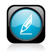 Dessiner l'icône glossy web carré noir et bleu — Photo