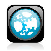 Gears black and blue square web glossy icon — Stock Photo