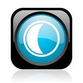 Parlak siyah ve mavi kare web simgesi ay — Stok fotoğraf