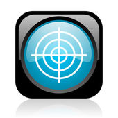 Target black and blue square web glossy icon — Stock Photo