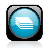 Siyah ve mavi kare web parlak simge katmanlar — Stok fotoğraf