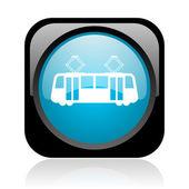 电车黑色和蓝色方形 web 光泽图标 — 图库照片