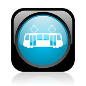Tram black and blue square web glossy icon — Stock Photo