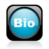 Bio noir et bleu carré web icône brillant — Photo