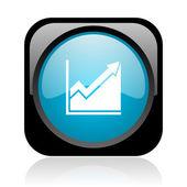 Histogram black and blue square web glossy icon — Stock Photo