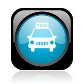 Taxi noir et bleu carré web icône brillant — Photo